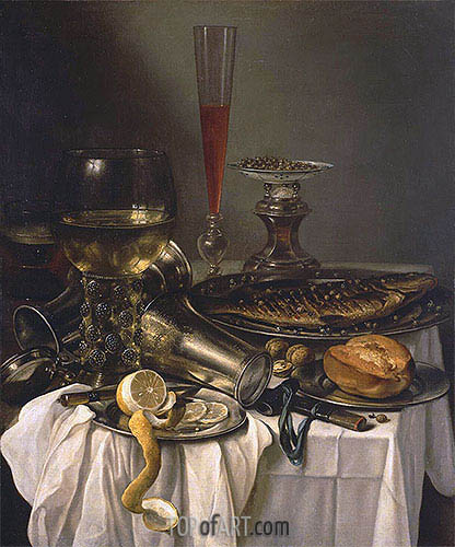 Breakfast with Fish, 1653 | Pieter Claesz | Painting Reproduction