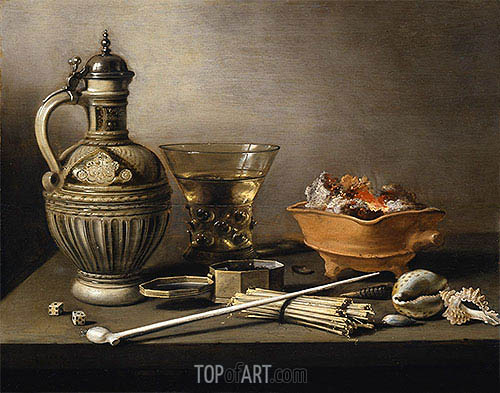 Still Life with a Stoneware Jug, Berkemeyer and Smoking Utensils, 1640 | Pieter Claesz | Painting Reproduction