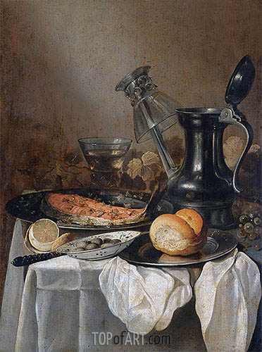 Still Life with a Pewter Flagon, Upturned Wineglass and Slice of Salmon, 1650 | Pieter Claesz | Gemälde Reproduktion
