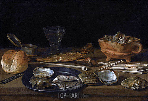 Still Life With a Brazier, Wine-Glass and a Bread Roll, 1624 | Pieter Claesz | Gemälde Reproduktion