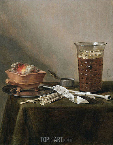 Still Life with a Brazier, a Glass of Beer and a Clay Pipe, 1642 | Pieter Claesz | Gemälde Reproduktion