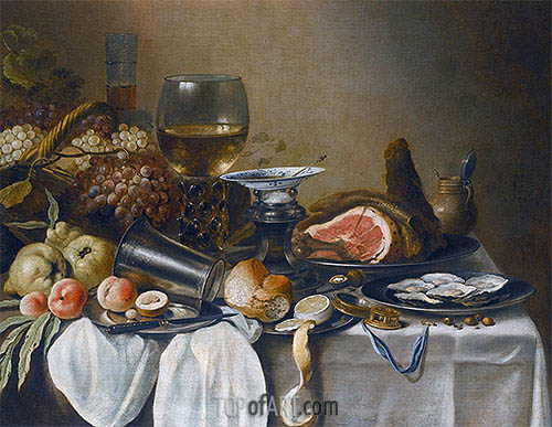 Still Life with a Ham, Fruits, Oysters and Bread, 1651 | Pieter Claesz | Gemälde Reproduktion