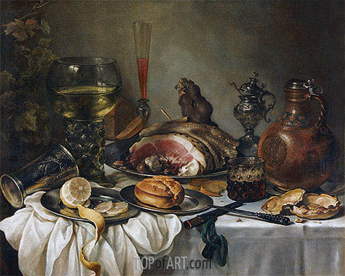 Still Life with a Roemer, Earthenware Jug, Overturned Silver Beaker and a Ham, undated | Pieter Claesz | Gemälde Reproduktion