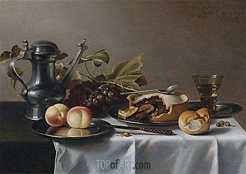 Still Life with Grapes, Pie, Peaches, Pewter Ewer and a Roemer, undated | Pieter Claesz | Gemälde Reproduktion