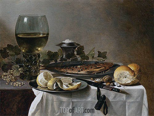 Still Life with Herring, Wine and Bread, 1647 | Pieter Claesz | Gemälde Reproduktion