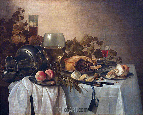 Still Life with Roemer and Pie, undated | Pieter Claesz | Painting Reproduction