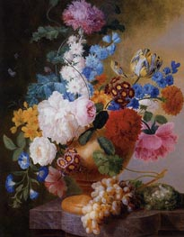 Still Life Of Tulips, Roses, Peonies, Narcissus, And Other Flowers In A Urn, Undated by Pieter Faes | Painting Reproduction