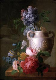 A Marble Vase of Lilac with other Flowers on a Marble Shelf | Pieter Faes | Painting Reproduction