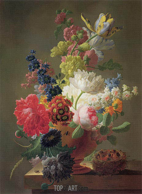 Flowers in a Marble Urn with a Bird's Nest upon a Ledge, 1793 | Pieter Faes | Painting Reproduction