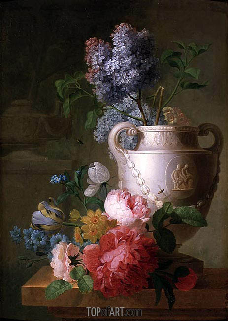 A Marble Vase of Lilac with other Flowers on a Marble Shelf, Undated | Pieter Faes | Painting Reproduction