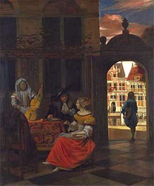 A Musical Party in a Courtyard, 1677 by Pieter de Hooch | Painting Reproduction