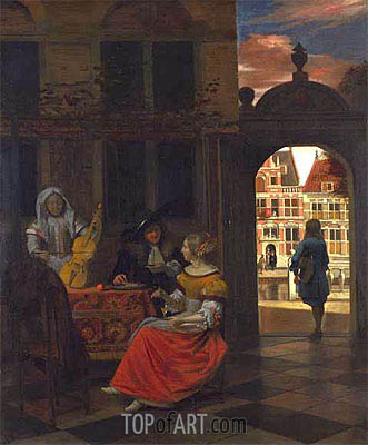 A Musical Party in a Courtyard, 1677 | Pieter de Hooch | Painting Reproduction