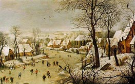 Winter Landscape with Skaters and Bird Trap, 1565 von Bruegel the Elder | Gemälde-Reproduktion