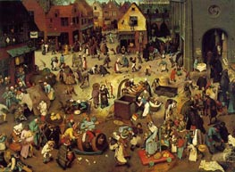 The Fight Between Carnival and Lent, 1559 von Bruegel the Elder | Gemälde-Reproduktion