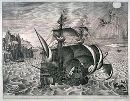 A Man-of-War near the Coast, with the Fall of Icarus, Undated by Bruegel the Elder | Painting Reproduction