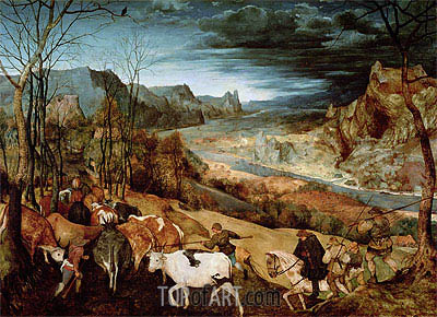 The Return of the Herd (Autumn), 1565 | Bruegel the Elder | Painting Reproduction