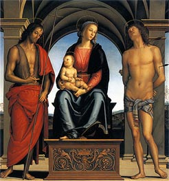 Virgin and Child with Saint John the Baptist and Saint Sebastian | Perugino | Painting Reproduction