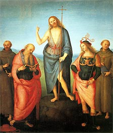 Saint John the Baptist with Saint Francis of Assisi, Saint Jerome, Saint Sebastian and Saint Anthony | Perugino | Gemälde Reproduktion