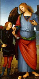Archangel Raphael with Tobias (Certosa Altarpiece), c.1496/00 by Perugino | Painting Reproduction