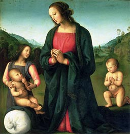 Madonna Adoring the Christ Child (Madonna del Sacco) | Perugino | Gemälde Reproduktion