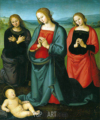 Madonna and Saints Adoring the Child, Undated | Perugino | Gemälde Reproduktion