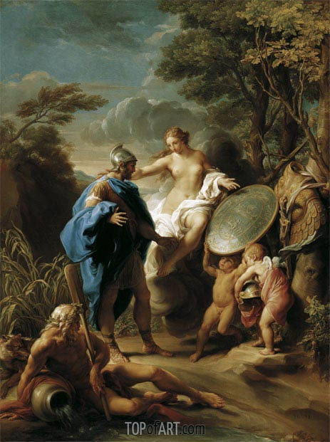 Venus Presenting Aeneas with Armour Forged by Vulcan, 1748 | Pompeo Batoni | Gemälde Reproduktion