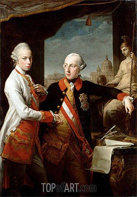 Kaiser Joseph II and the Grand Duke Leopold of Tuscany, 1769 | Pompeo Batoni | Painting Reproduction