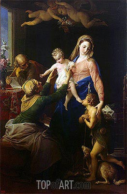 Holy Family with Sts Elizabeth and John the Baptist, 1777 | Pompeo Batoni | Painting Reproduction