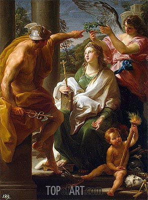 Mercury Crowning Philosophy, 'Mother' of the Arts  , 1747   Pompeo Batoni   Painting Reproduction