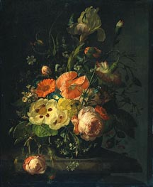 Still Life with Flowers on a Marble Tabletop, 1716 by Rachel Ruysch | Painting Reproduction