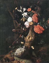 Flowers on a Tree Trunk, undated by Rachel Ruysch | Painting Reproduction