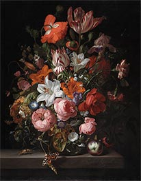 Flowers in a Glass Vase, 1704 von Rachel Ruysch | Gemälde-Reproduktion