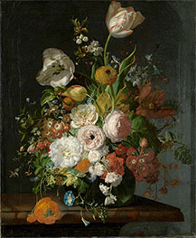 Still Life with Flowers in a Glass Vase | Rachel Ruysch | Painting Reproduction