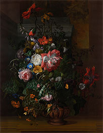 Roses, Convolvulus, Poppies and Other Flowers in an Urn | Rachel Ruysch | Painting Reproduction