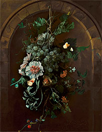 A Swag of Fruit and Flowers Suspended before a Stone Arch | Rachel Ruysch | Gemälde Reproduktion