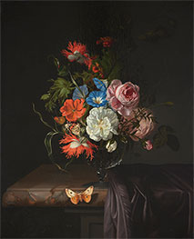 Flowers in a Glass Vase with Butterfly | Rachel Ruysch | Painting Reproduction