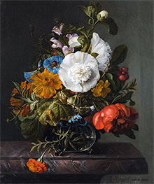 Still Life of Flowers in a Glass Vase on a Marble Ledge | Rachel Ruysch | Painting Reproduction