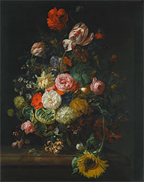 Still Life of Roses, Tulips and Sunflower | Rachel Ruysch | Painting Reproduction