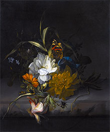 Still Life with Marigolds and Morning Glory | Rachel Ruysch | Painting Reproduction