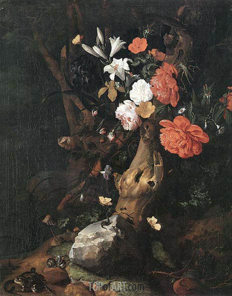 Flowers on a Tree Trunk, undated | Rachel Ruysch | Gemälde Reproduktion