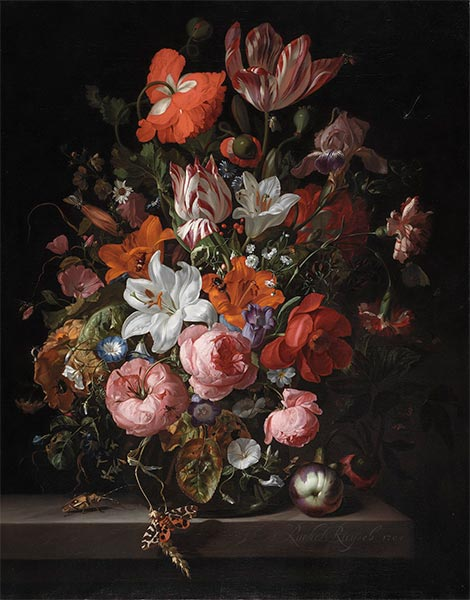 Flowers in a Glass Vase, 1704 | Rachel Ruysch | Painting Reproduction