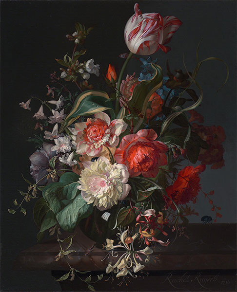 Flowers in a Glass Vase with a Tulip, 1716 | Rachel Ruysch | Painting Reproduction
