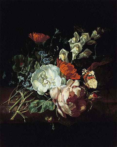 Nosegay on a Marble Plinth, c.1695 | Rachel Ruysch | Painting Reproduction