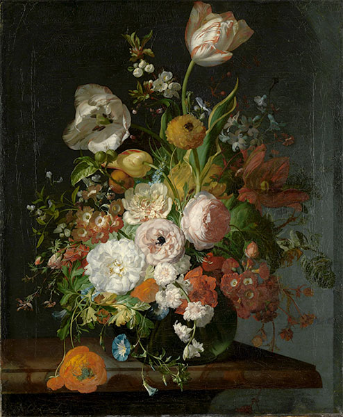 Still Life with Flowers in a Glass Vase, Undated | Rachel Ruysch | Painting Reproduction