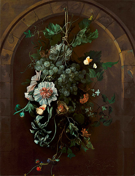 A Swag of Fruit and Flowers Suspended before a Stone Arch, 1681 | Rachel Ruysch | Gemälde Reproduktion