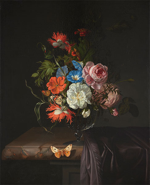 Flowers in a Glass Vase with Butterfly, 1686 | Rachel Ruysch | Painting Reproduction