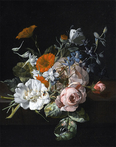 Still Life of Flowers with a Nosegay of Roses, 1695 | Rachel Ruysch | Painting Reproduction
