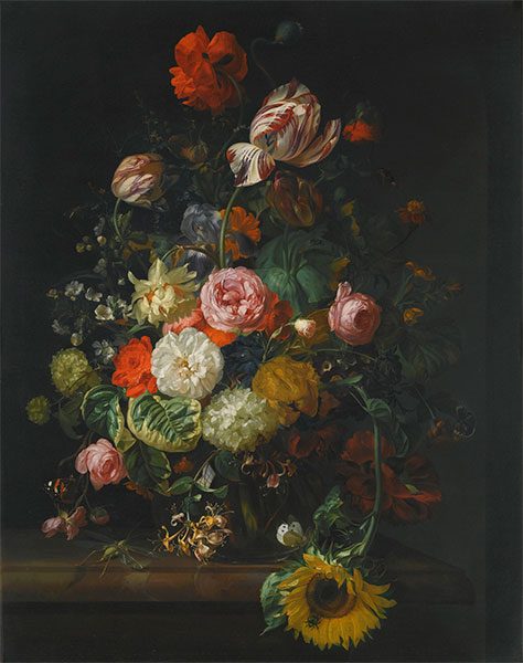 Still Life of Roses, Tulips and Sunflower, 1710 | Rachel Ruysch | Painting Reproduction