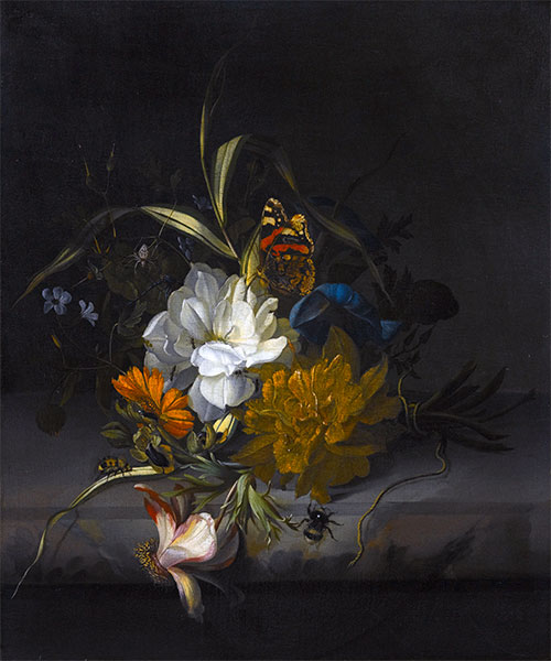 Still Life with Marigolds and Morning Glory, Undated | Rachel Ruysch | Painting Reproduction