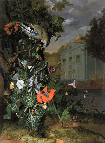 Forest Floor with a Classical Facade Beyond, Undated | Rachel Ruysch | Painting Reproduction